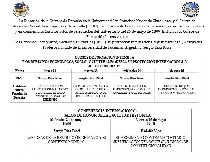 CURSOS DE FORNACION INTENSIVA «LOS DERECHOS ECONÓMICOS, SOCIAL Y CULTURALES (DESC), SU PROTECCIÓN INTERNACIONAL Y JUSTICIABILIDAD».