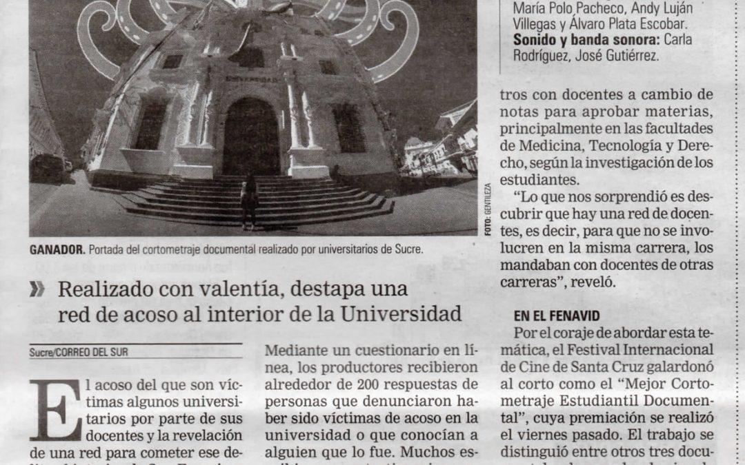 UN CORTO HECHO EN SUCRE GANA PREMIO DE FESTIVAL